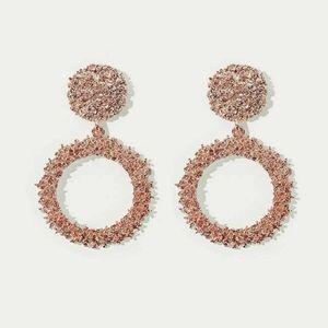 3/$30 Rose Gold Textured Hoop Earrings